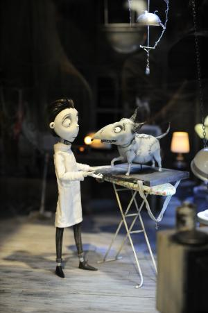 """Figures on the set of of the Disney Tim Burton movie """" Frankenweenie"""" on display at Comic-Con preview night held at the San Diego Convention Center on Wednesday July 11, 2012, in San Diego.  (Photo by Denis Poroy/Invision/AP)"""