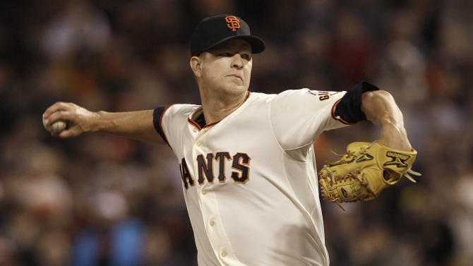 San Francisco Giants pitcher Matt Cain delivers against the Houston Astros during the sixth inning of a baseball game in San Francisco, Wednesday, June 13, 2012. Matt Cain threw a perfect game, striking out 14 in San Francisco's 10-0 victory over Houston. (AP Photo/Jeff Chiu)