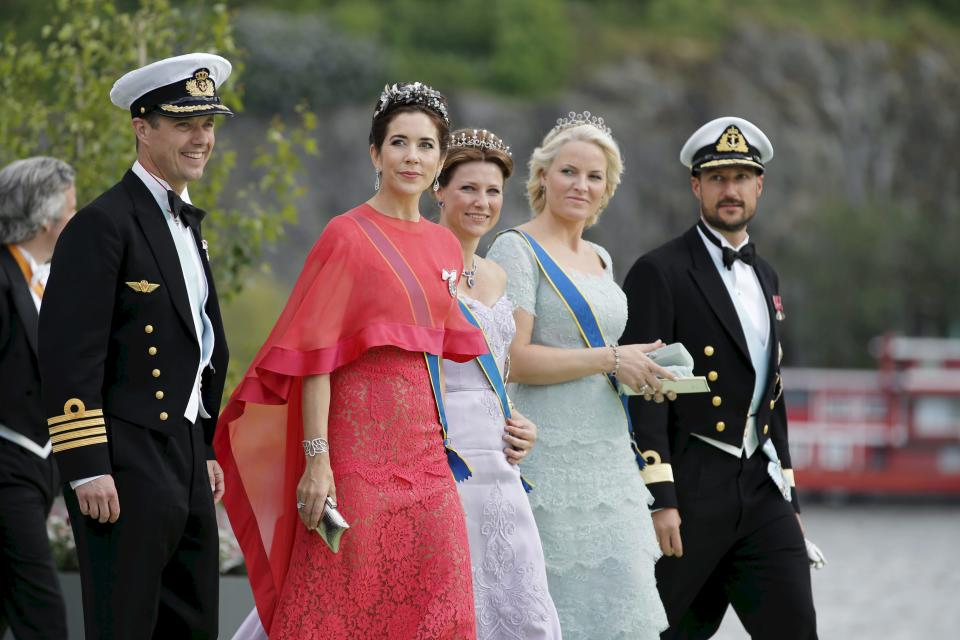 From left: Danish Crown Prince Frederik and his wife Crown princess Mary, Princess Marta Louise of Norway, Crown Princess Mette Marit and Crown Prince Haakon of Norway after the wedding ceremony in the Royal Chapel of Princess Madeleine of Sweden and Christopher O´Neill , in Stockholm , Saturday June 8, 2013. (AP Photo/Adam Ihse) SWEDEN OUT