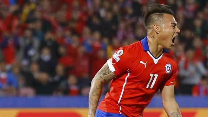 Chile's Eduardo Vargas celebrates after scoring against Peru during the Copa America 2015 semi-final soccer match at the National Stadium in Santiago