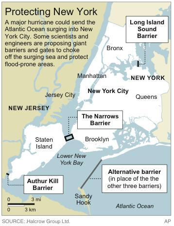 Map shows proposed barriers to protect New York City from storm surges