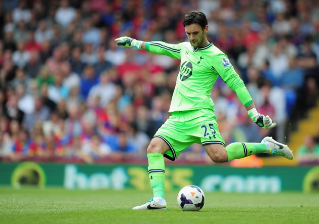 Hugo Lloris of Tottenham Hotspur takes a goal kick during the Barclays Premier League match between Crystal Palace and Tottenham Hotspur at Selhurst Park on August 18, 2013 in London, England. (Photo by Jamie McDonald/Getty Images)
