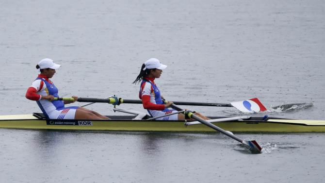 South Korea's Jeon Seo-yeong (bow) and Kim Seo-hee compete in the final of the women's pair event of the rowing competition at the Chungju Tangeum Lake International