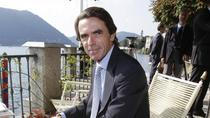 """FILE - In this Sept. 4, 2010 file photo, former president of Spain Jose' Maria Aznar attends the """"Intelligence on the World, Europe, and Italy"""" economic forum, at Villa d'Este, in Cernobbio, on the Como Lake, Italy. Aznar serves on the News Corporation's board of directors. (AP Photo/Luca Bruno, file)"""