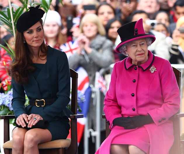 HRH Queen Elizabeth II and Catherine Duchess of Cambridge, aka Kate Middleton at Leicester City centre on March 8, 2012.   
