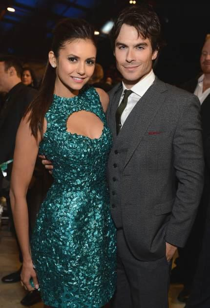 Nina Dobrev and Ian Somerhalder attend the Critics' Choice Movie Awards 2013 with Skinnygirl Cocktails at Barkar Hangar on January 10, 2013 in Santa Monica, Calif. -- Getty Premium