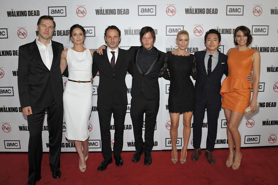 "FILE - In this Thursday, Oct. 4, 2012 file photo provided by AMC, from left, David Morrissey, Sarah Wayne Callies, Andrew Lincoln, Norman Reedus, Laurie Holden, Steven Yeun, and Lauren Cohan attend the premiere of ""The Walking Dead"" at Universal Studios in Los Angeles. (AP Photo/AMC, John Shearer)"