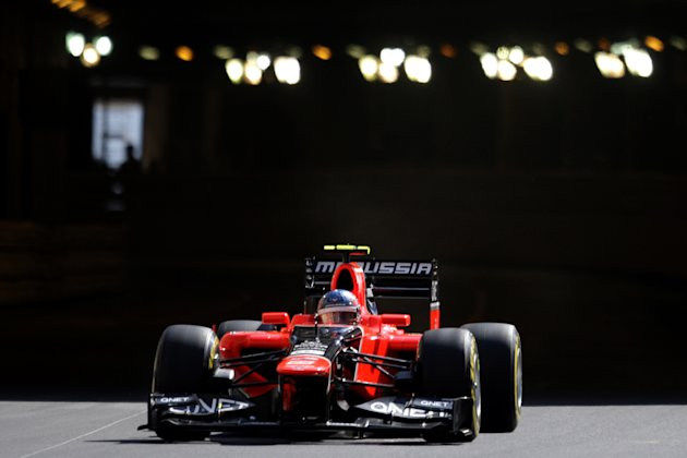 Marussia F1 Team French driver Charles Pic  drives during first practice session at the Circuit de Monaco on May 24, 2012 in Monte Carlo ahead of the Monaco Formula One Grand Prix.      AFP PHOTO / JE