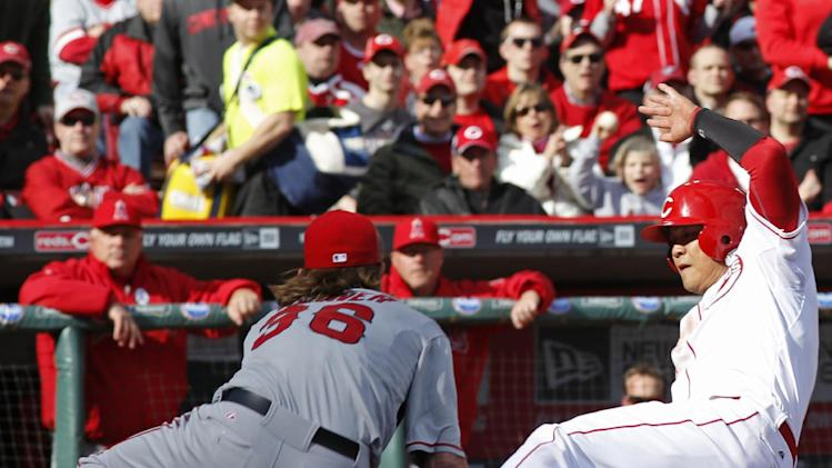 Cincinnati Reds right fielder Shin-Soo Choo scores on a wild pitch by Los Angeles Angels starting pitcher Jered Weaver (36) in the third inning of an opening day baseball game, Monday, April 1, 2013, in Cincinnati. (AP Photo/David Kohl)