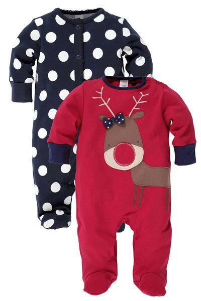 Reindeer And Spot Sleepsuits Two Pack
