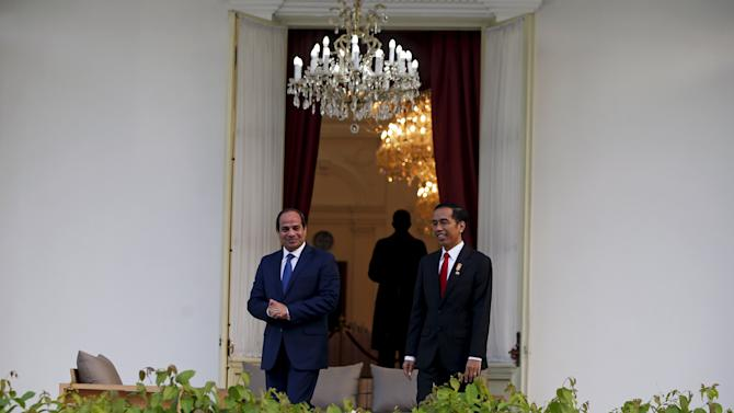 Egypt's President Abdel Fattah Al-Sisi stands with Indonesia's President Joko Widodo beside a fountain inside the Presidential Palace in Jakarta
