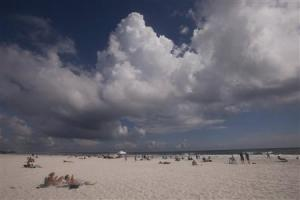 Clouds move in before the possible arrival of Tropical Storm Karen in Navarre Beach