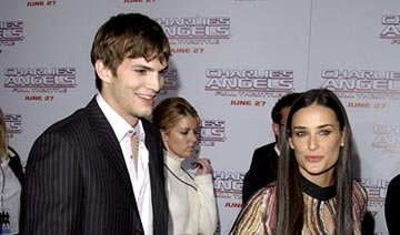 Premiere: Ashton Kutcher and Demi Moore with Tallulah Belle at the LA premiere of Columbia's Charlie's Angels: Full Throttle - 6/18/2003 