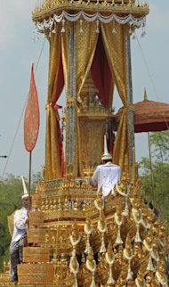 The royal chariot carryiesthe royal urn of Thai Princess Bejaratana Rajasuda Sirisobhabannavadi during the ancient rites of the royal cremation ceremony at Sanam Luang in Bangkok on April 9, 2012