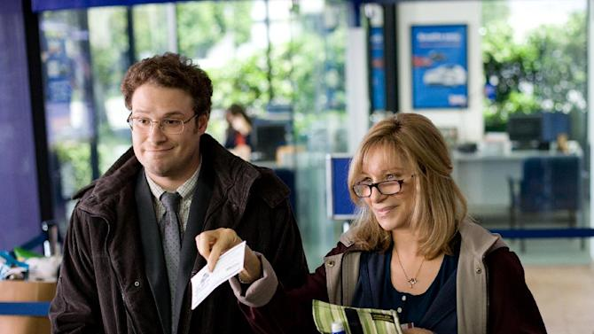 """This image released by Paramount Pictures shows Seth Rogen, left, and Barbra Streisand in a scene from """"The Guilt Trip."""" (AP Photo/Paramount Pictures, Sam Emerson)"""