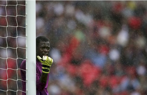 Senegal's Ousmane Mane reacts during their men's preliminary first round Group A soccer match against Uruguay at the London 2012 Olympic Games in the Wembley Stadium in London