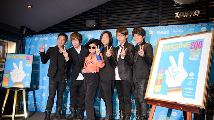Yoko Ono Lennon and Mayday appear at Hard Rock Cafe Tokyo on Thursday, December 5, 2013, to support Hard Rock's 6th annual IMAGINE THERE'S NO HUNGER campaign benefiting WhyHunger and grassroots partners combating childhood hunger and poverty worldwide. (Photo Credit: Hard Rock International/ Tsutomu Fujita AP Images for Invision)