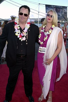 Dan Aykroyd and Donna Dixon aboard the USS John C. Stennis at the Honolulu, Hawaii premiere of Touchstone Pictures' Pearl Harbor