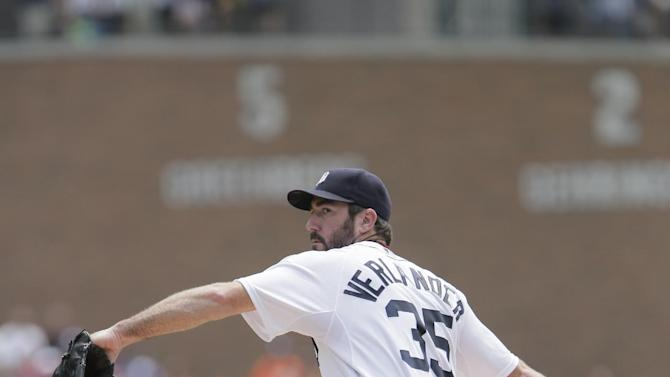 Detroit Tigers pitcher Justin Verlander delivers against the Toronto Blue Jays during the first inning of a baseball game Sunday, July 5, 2015, in Detroit. (AP Photo/Duane Burleson)