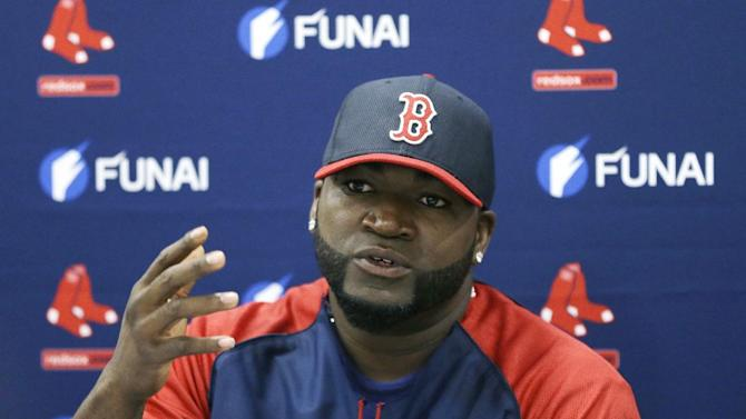 "FILE - In this March 24, 2014, file photo, Boston Red Sox designated hitter David Ortiz speaks during a news conference in Sarasota, Fla. Ortiz says he ""never knowingly took any steroids"" and he's definitely a Hall of Famer.  The remarks by the 39-year-old designated hitter come in a column Thursday, March 26, 2015, for The Players' Tribune, a website founded by Derek Jeter that gives professional athletes a platform. (AP Photo/Carlos Osorio, File)"