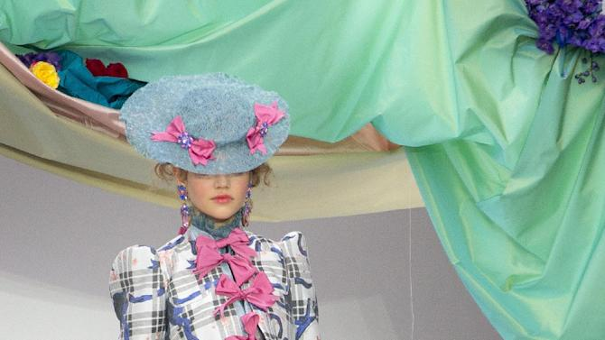 A model wears a designs from the Spring/Summer 2013 Meadham Kirchoff collection at a central London  venue, during London Fashion Week, Tuesday, Sept. 18, 2012. (AP Photo/Joel Ryan)