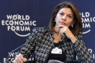 Costa Rica&#39;s President Laura Chinchilla listens during a panel session of the 43rd Annual Meeting of the World Economic Forum, WEF, in Davos, Switzerland, Thursday, Jan. 24, 2013. (AP Photo/Keystone/Laurent Gillieron)