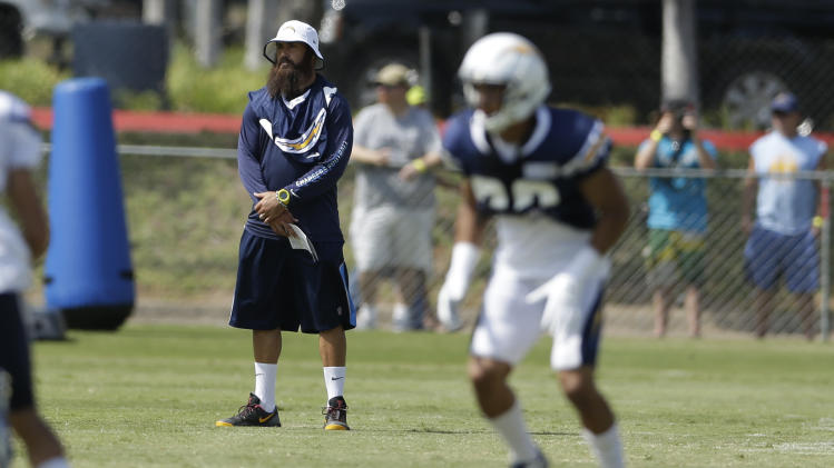 San Diego Chargers free safety Eric Weddle, center, watches during NFL football training camp Friday, Aug. 1, 2014, in San Diego. (AP Photo/Gregory Bull)