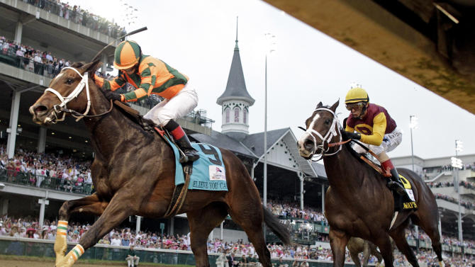 Rosie Napravnik rides Believe You Can to victory in the 138th running of the Kentucky Oaks horse race at Churchill Downs Friday, May 4, 2012, in Louisville, Ky. (AP Photo/David J. Phillip)