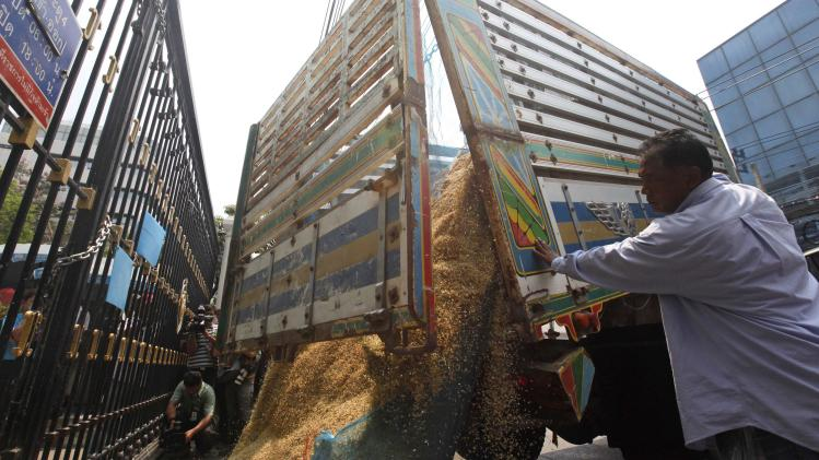 Farmers dump a pile of rice on the ground during a rally outside Thailand's Finance Ministry in Bangkok