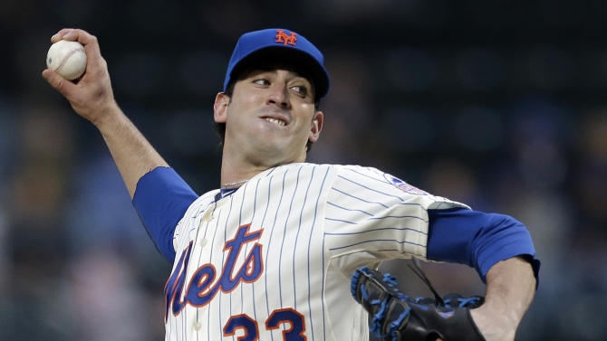 New York Mets starting pitcher Matt Harvey delivers in the first inning of a baseball game against the Los Angeles Dodgers at Citi Field in New York, Wednesday, April 24, 2013. (AP Photo/Kathy Willens)