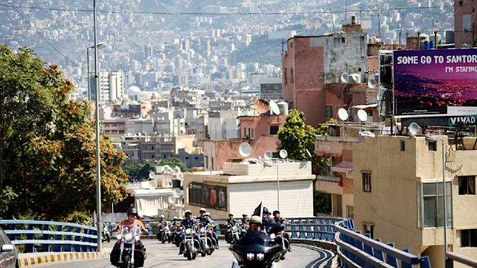 Bikers ride their motorcycles during the Beirut Bike Festival
