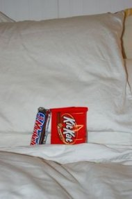 candy bars in bed