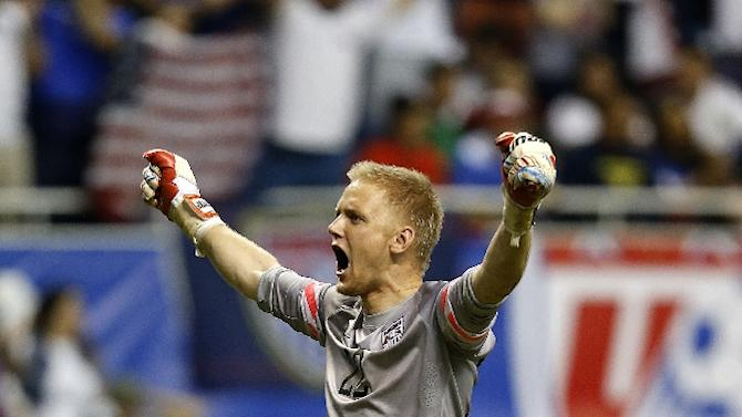 William Yarbrough of the United States reacts as his team defeats Mexico during an international friendly match at the Alamodome on April 15, 2015 in San Antonio, Texas