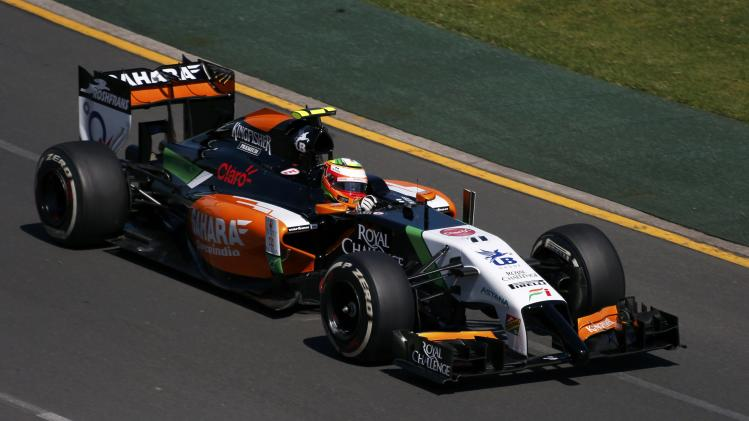Force India Formula One driver Perez of Mexico drives during the first practice session of the Australian F1 Grand Prix in Melbourne