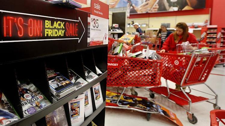 A 'Black Friday' sale sign is seen inside a Target store in Westbury, New York