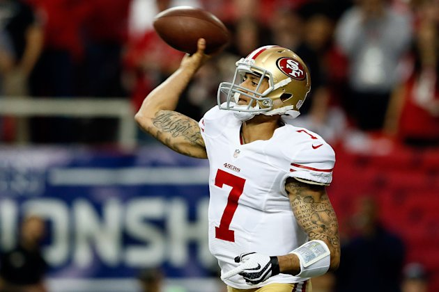 ATLANTA, GA - JANUARY 20: Quarterback Colin Kaepernick #7 of the San Francisco 49ers passes the ball in the second quarter against the Atlanta Falcons in the NFC Championship game at the Georgia Dome