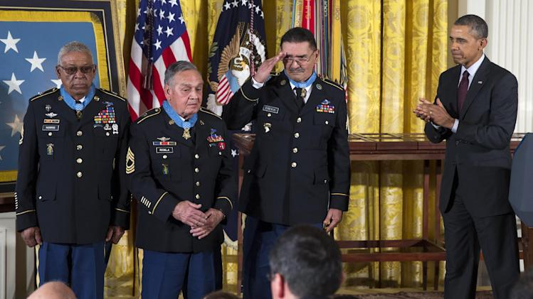 March 18, 2014, in Washington. Obama awarded 24 Army veterans the