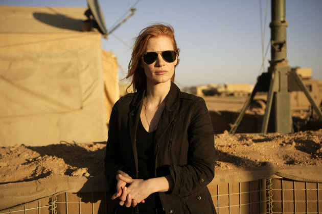 "This undated publicity film image provided by Columbia Pictures shows Jessica Chastain in a scene from ""Zero Dark Thirty."" The National Board of Review has named Kathryn Bigelow's Osama bin Laden docudrama ""Zero Dark Thirty"" the best film of the year. The film took three awards from the National Board of Review, which also named Bigelow best director and the film's star, Jessica Chastain, best actress. (AP Photo/Columbia Pictures, Jonathan Olley)"