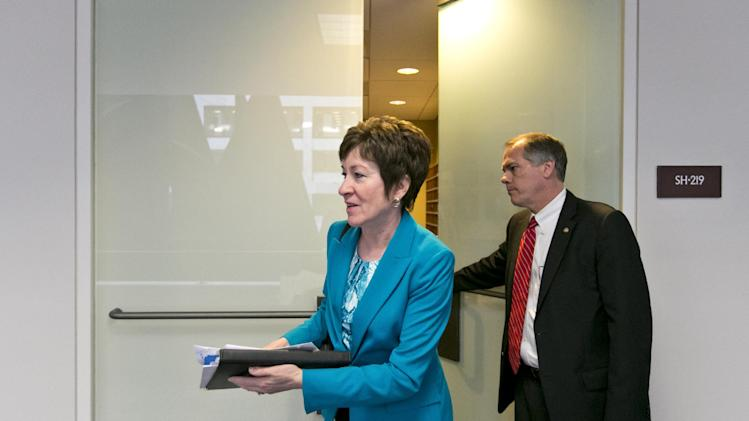 Sen. Susan Collins, R-Maine, a member of the Senate Intelligence Committee, leaves following a closed-door briefing by intelligence agencies on the Boston Marathon bombing, on Capitol Hill in Washington, Tuesday, April 23, 2013. (AP Photo/J. Scott Applewhite)