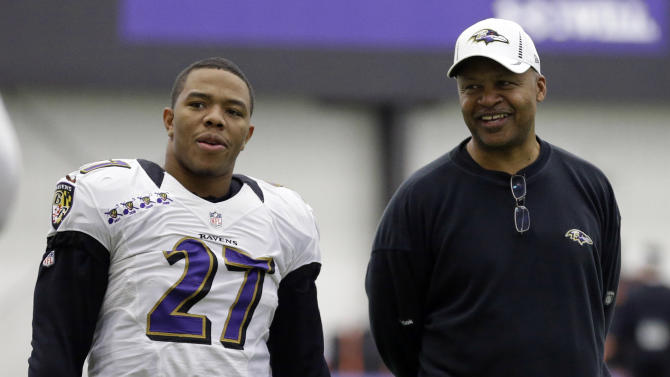 Baltimore Ravens running back Ray Rice, left, stands with offensive coordinator Jim Caldwell during NFL football practice at the team's training facility in Owings Mills, Md., Friday, Jan. 25, 2013. The Ravens are scheduled to face the San Francisco 49ers in Super Bowl XLVII in New Orleans on Sunday, Feb. 3. (AP Photo/Patrick Semansky)