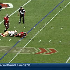 San Francisco 49ers linebacker Aldon Smith sacks Tampa Bay Buccaneers quarterback Mike Glennon