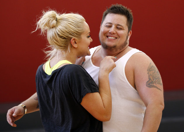In this Sept. 7, 2011 photo, Chaz Bono, right, and his dance partner Lacey Schwimmer laugh while rehearsing for the upcoming season of &quot;Dancing of the Stars&quot; in Los Angeles. The new season of &quot;Dancing with the Stars&quot; premieres Monday, Sept. 19 on ABC. (AP Photo/Matt Sayles)