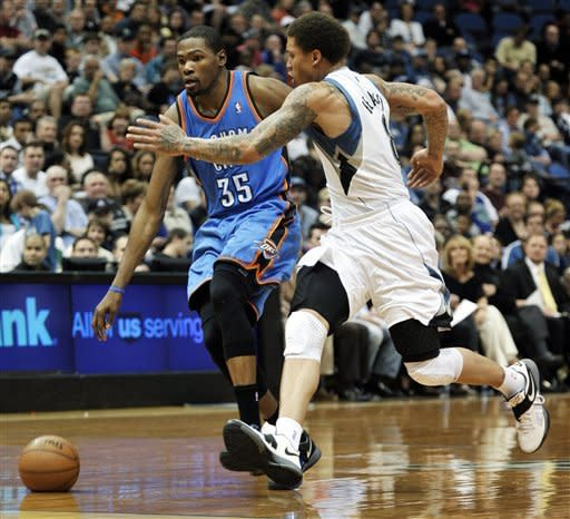 Durant, Westbrook combine for 78 v. Wolves