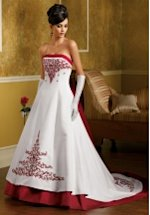 Princess Strapless Floor Length Attached Satin Wedding Dress Style