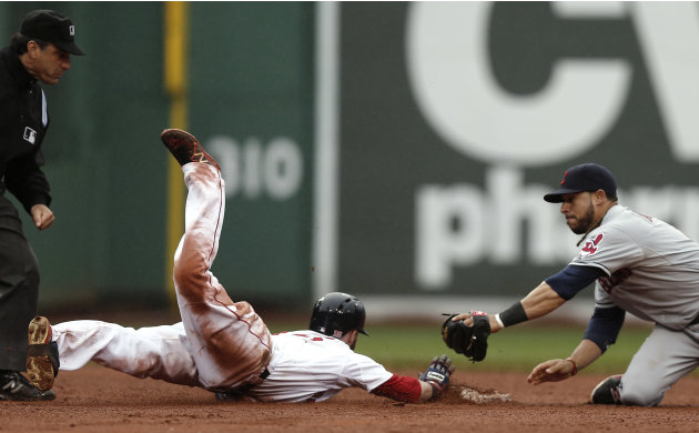 Boston Red Sox's Dustin Pedroia slides safely into second on his go ahead RBI double as Cleveland Indians' Mike Aviles tries for the tag during the eighth inning of their 7-4 win in a baseball game at