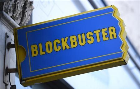 The logo of a Blockbuster shop is seen in south London