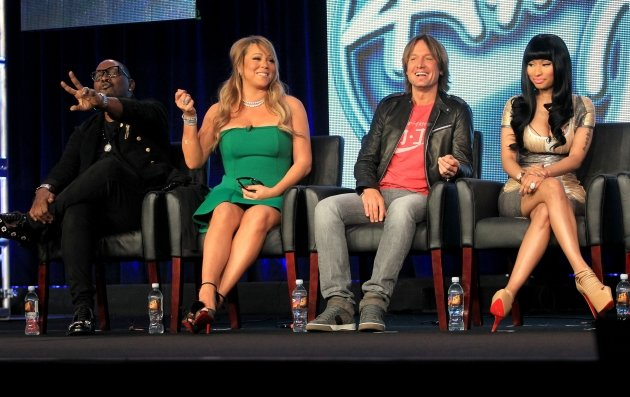 Judges Randy Jackson, Mariah Carey, Keith Urban and Nicki Minaj of &#39;American Idol&#39; speak onstage during the FOX portion of the 2013 Winter TCA Tour at Langham Hotel on January 8, 2013 -- Getty Images