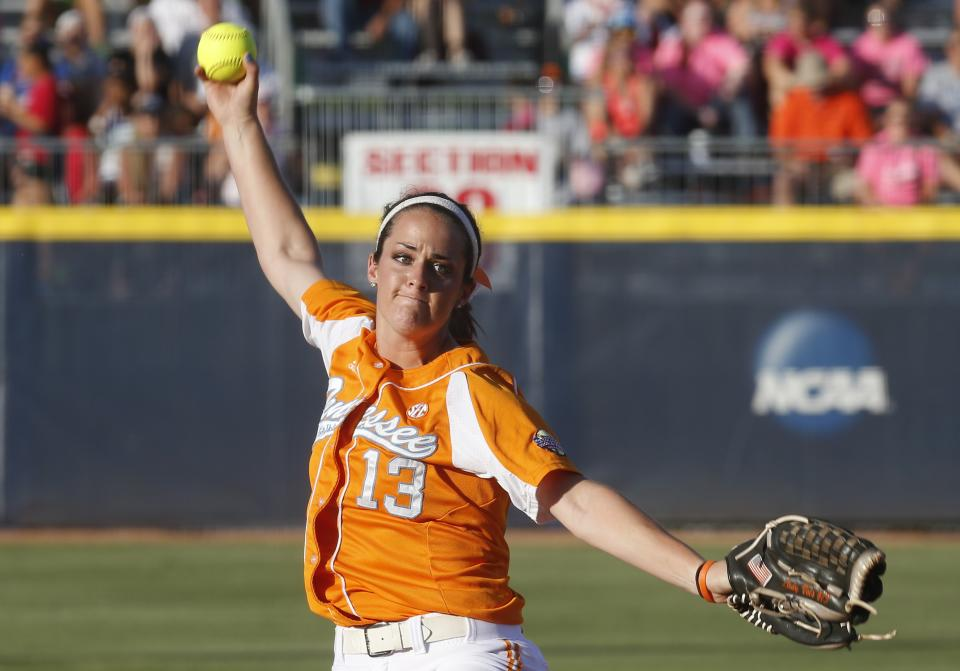 Tennessee pitcher Ellen Renfroe  pitches against Oklahoma in the first inning of the first game of the best of three Women's College World Series NCAA softball championship series in Oklahoma City, Monday, June 3, 2013. (AP Photo/Sue Ogrocki)