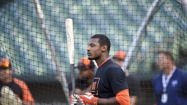 Baltimore Orioles center fielder Adam Jones looks on before a baseball game against the Boston Red Sox, Saturday, Sept. 20, 2014, in Baltimore. (AP Photo/Nick Wass)