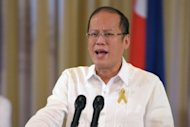 "Philippine President Benigno Aquino at a press briefing at the Malacanang Palace in Manila on October 7. ""It brings all former secessionist groups into the fold. No longer does the Moro Islamic Liberation Front aspire for a separate state,"" he said"
